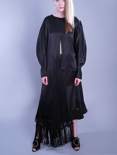 Asymmetric black blouse