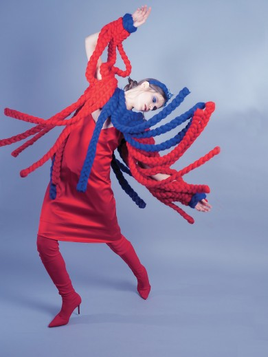 Chunky blue-red jumper