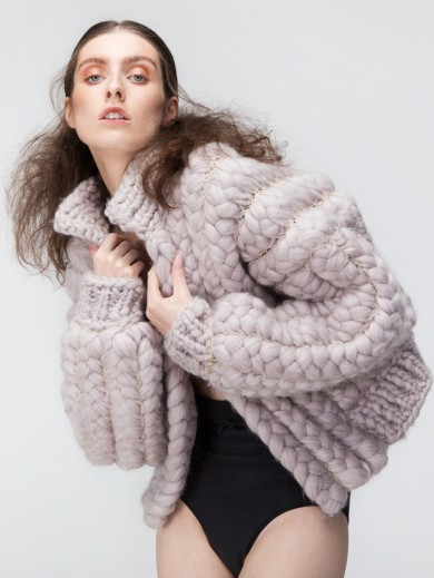 Chunky braided wool jacket